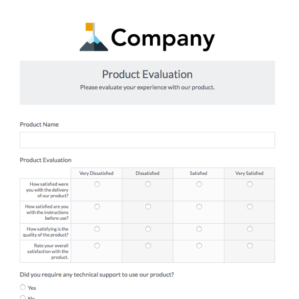 customer feedback form example
