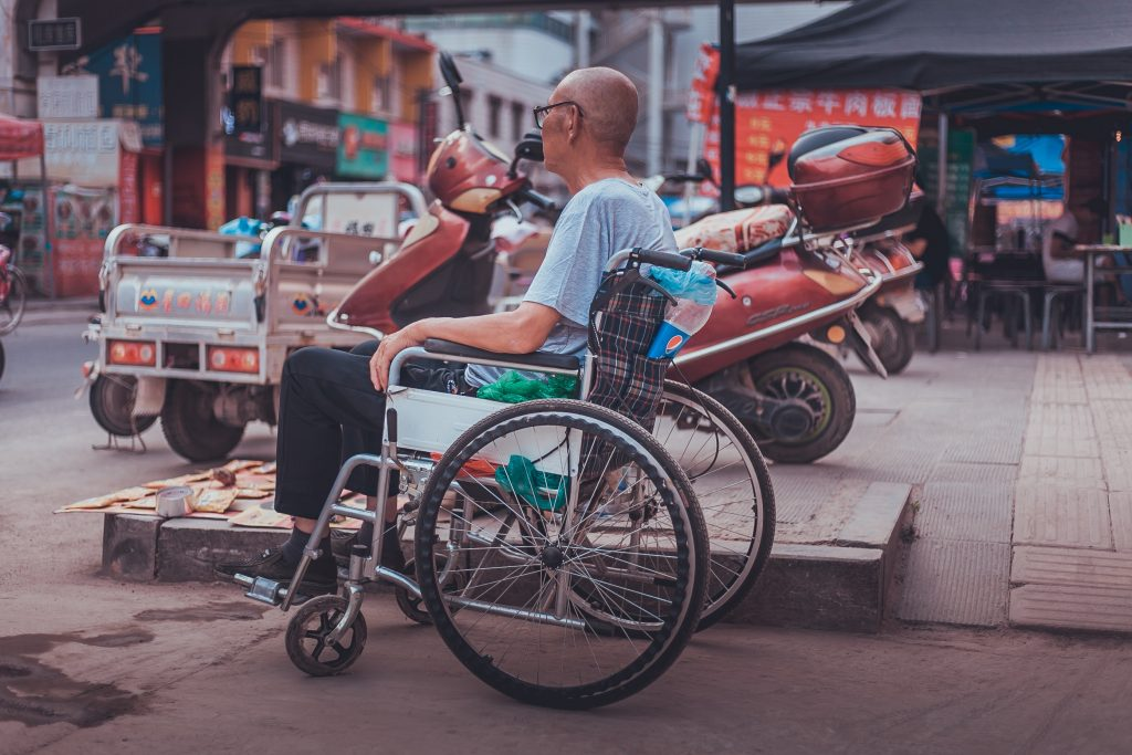 older adult in a wheelchair