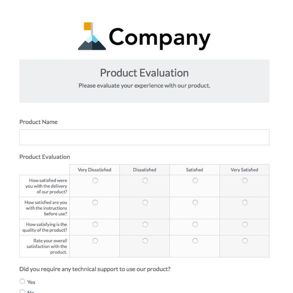 customer feedback form example